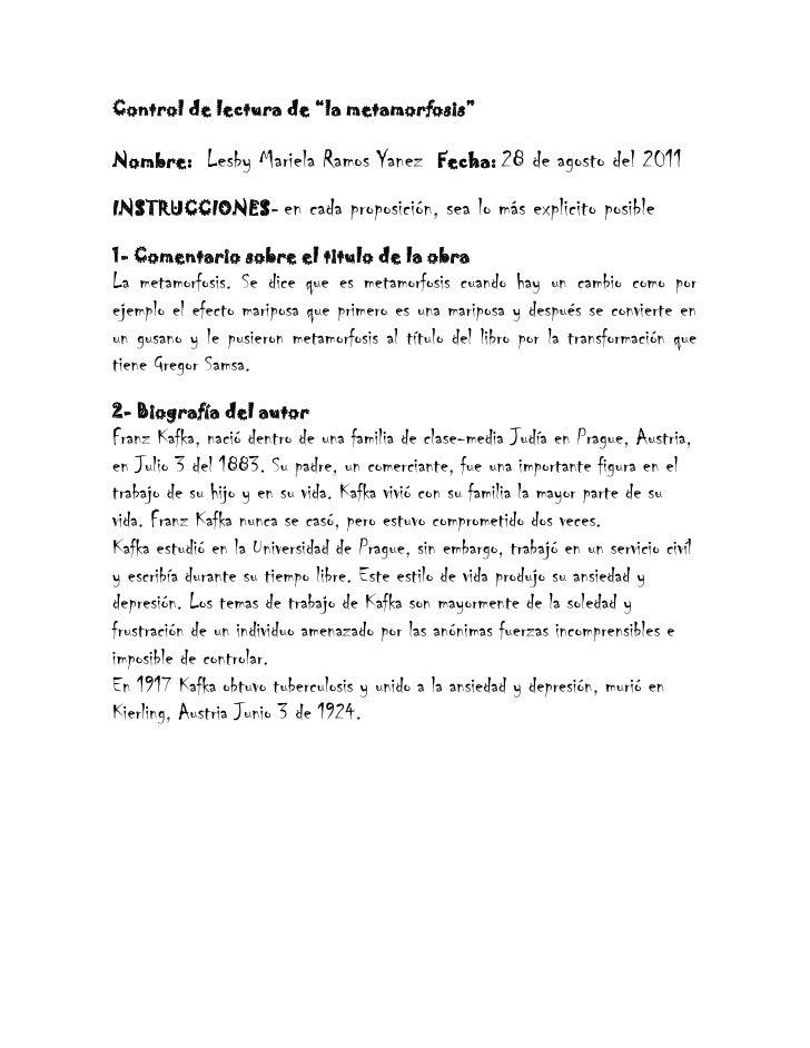 """Control de lectura de """"la metamorfosis""""<br />Nombre: Lesby Mariela Ramos Yanez   Fecha: 28 de agosto del 2011<br />INSTR..."""