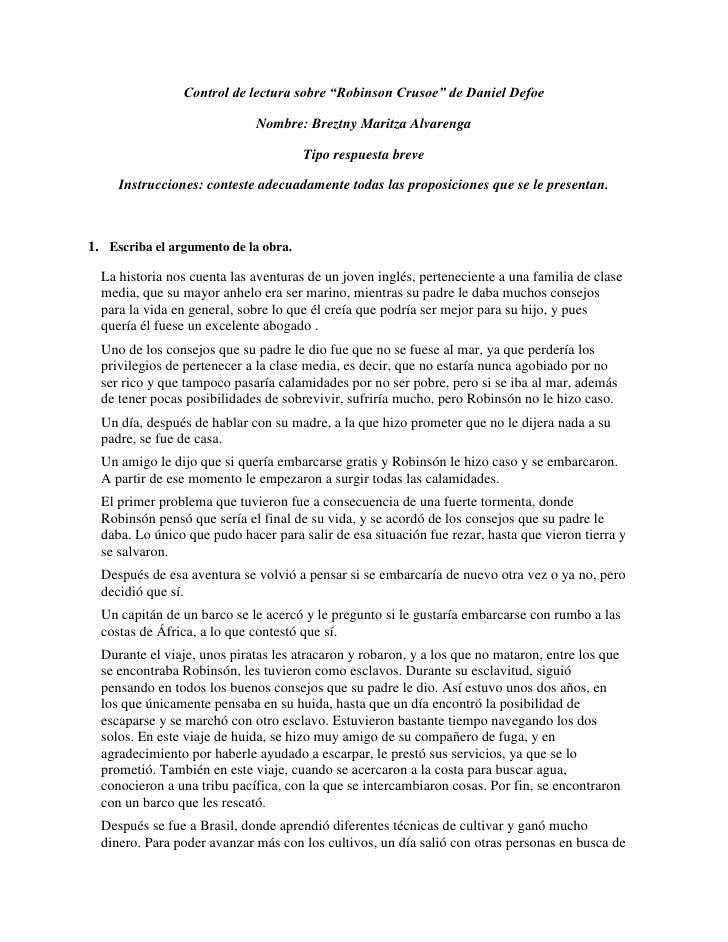 """Control de lectura sobre """"Robinson Crusoe"""" de Daniel Defoe                             Nombre: Breztny Maritza Alvarenga  ..."""