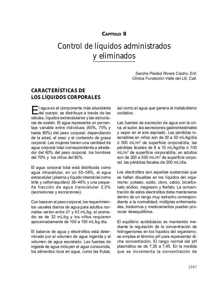 CAPÍTULO II: CONTROL DE LÍQUIDOS ADMINISTRADOS Y ELIMINADOS                                          CAPÍTULO II          ...