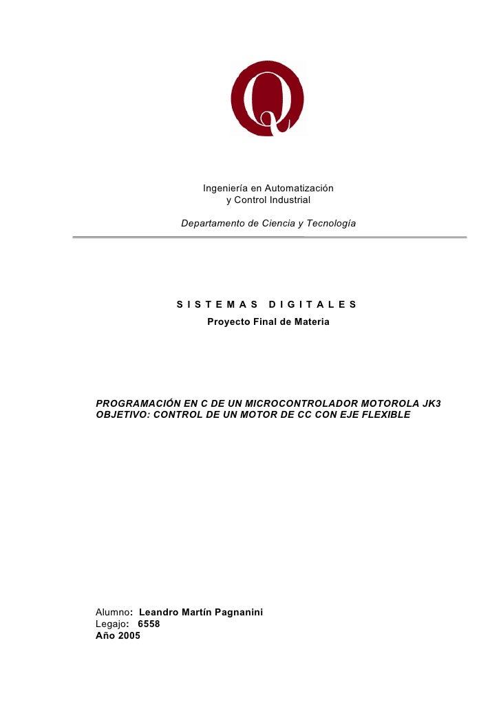 Ingeniería en Automatización                         y Control Industrial                Departamento de Ciencia y Tecnolo...