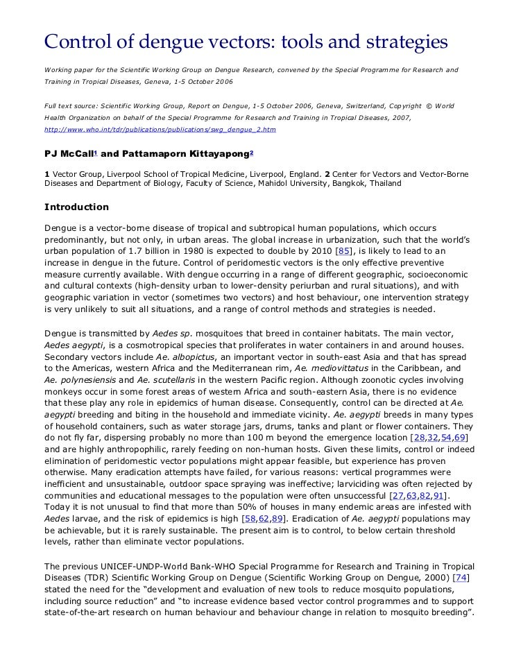 Control of dengue vectors: tools and strategiesWorking paper for the Scientific Working Group on Dengue Research, convened...