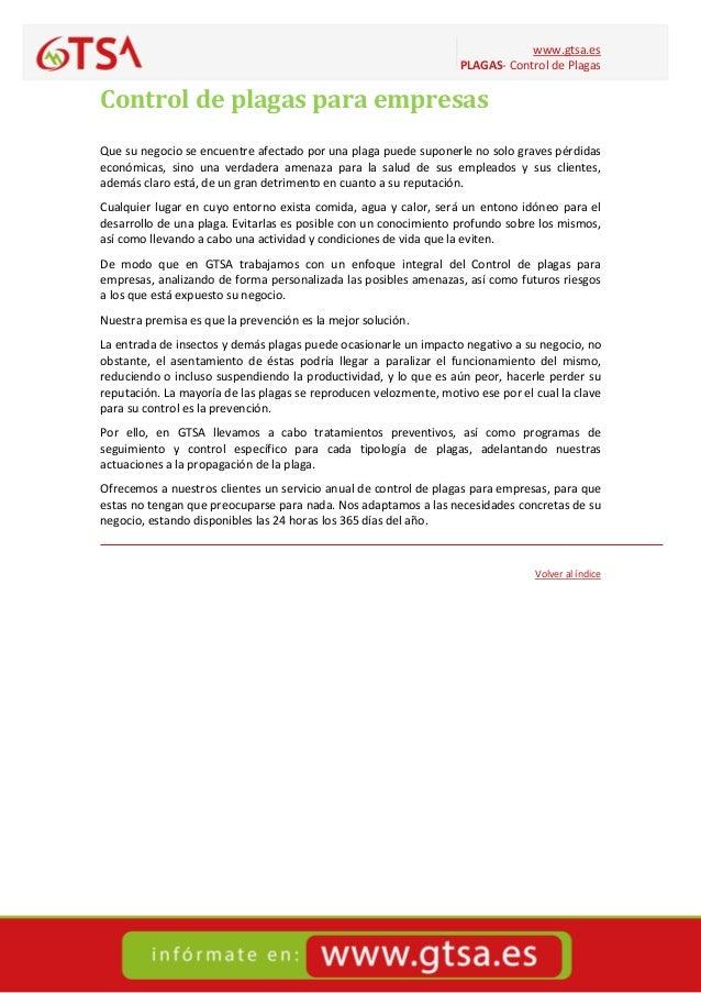 www.gtsa.es PLAGAS- Control de Plagas Control de plagas para empresas Que su negocio se encuentre afectado por una plaga p...