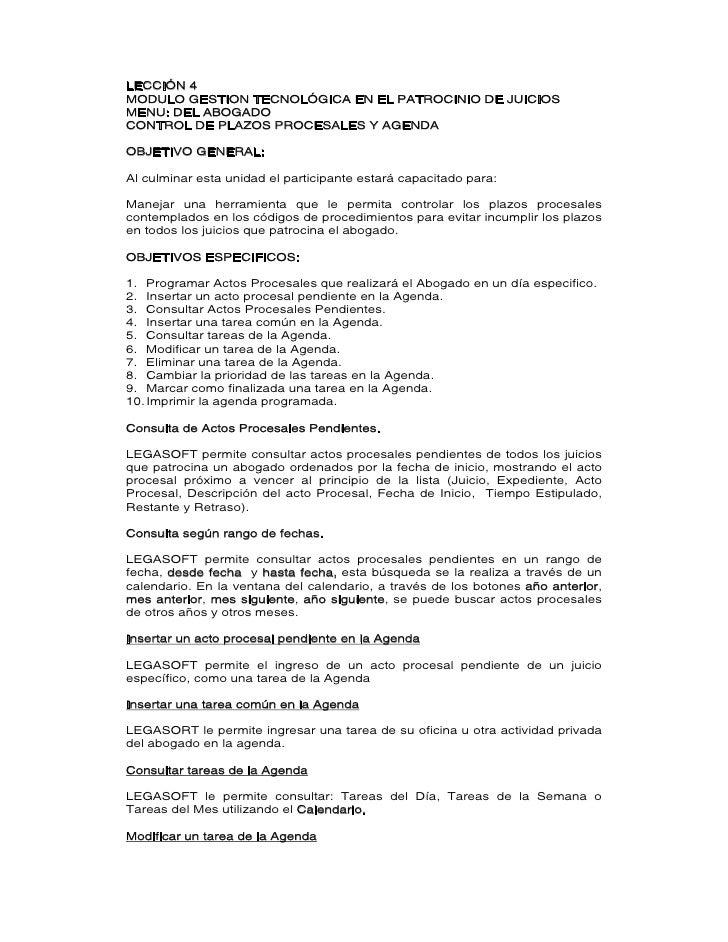 LECCIÓN 4 MODULO GESTION TECNOLÓGICA EN EL PATROCINIO DE JUICIOS MENU: DEL ABOGADO CONTROL DE PLAZOS PROCESALES Y AGENDA  ...