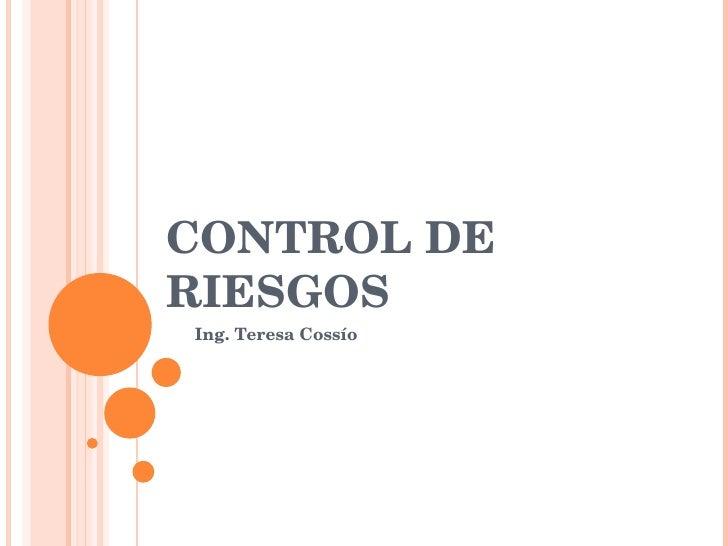 CONTROL DE RIESGOS Ing. Teresa Cossío