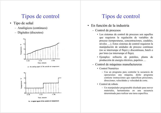 Tipos de control • Tipo de señal – Analógicos (continuos) – Digitales (discretos) Tipos de control • En función de la indu...
