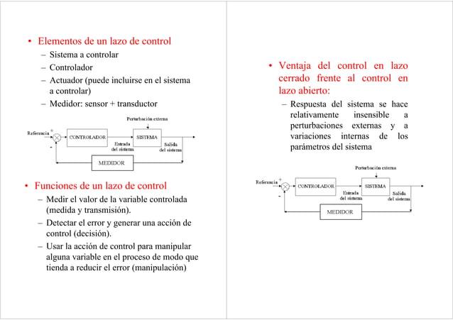 • Elementos de un lazo de control – Sistema a controlar – Controlador – Actuador (puede incluirse en el sistema a controla...