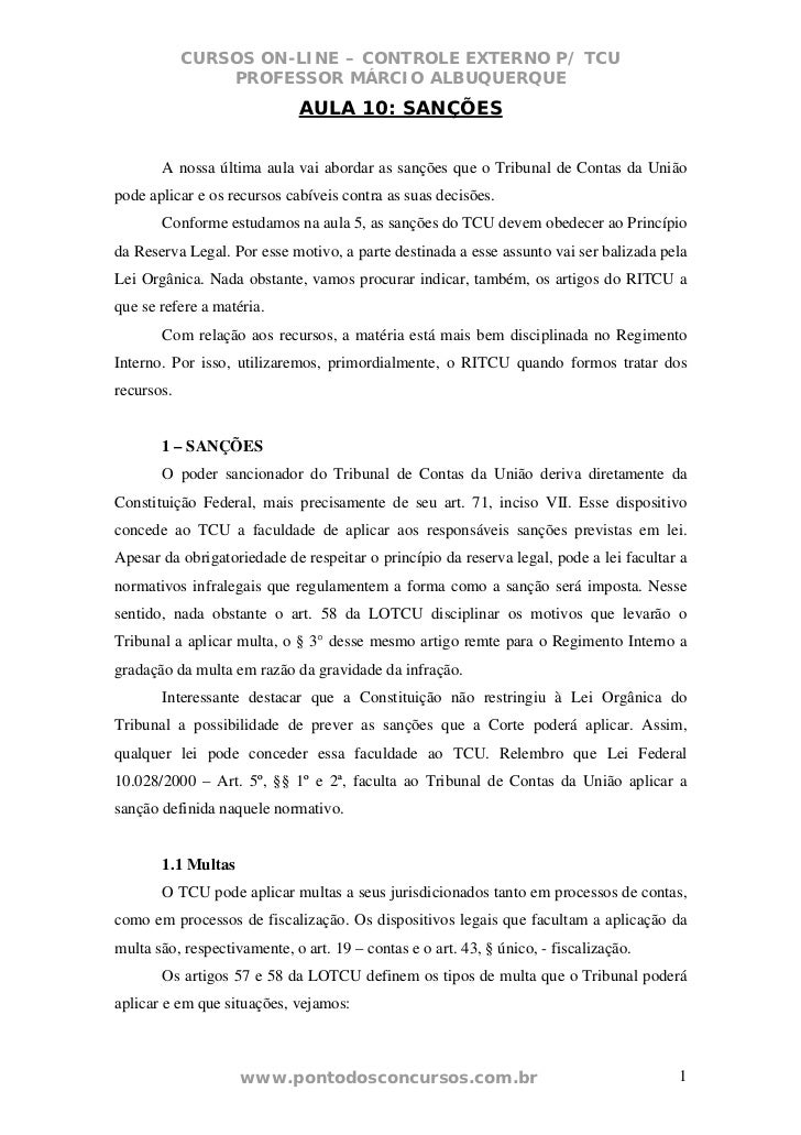 CURSOS ON-LINE – CONTROLE EXTERNO P/ TCU                PROFESSOR MÁRCIO ALBUQUERQUE                             AULA 10: ...