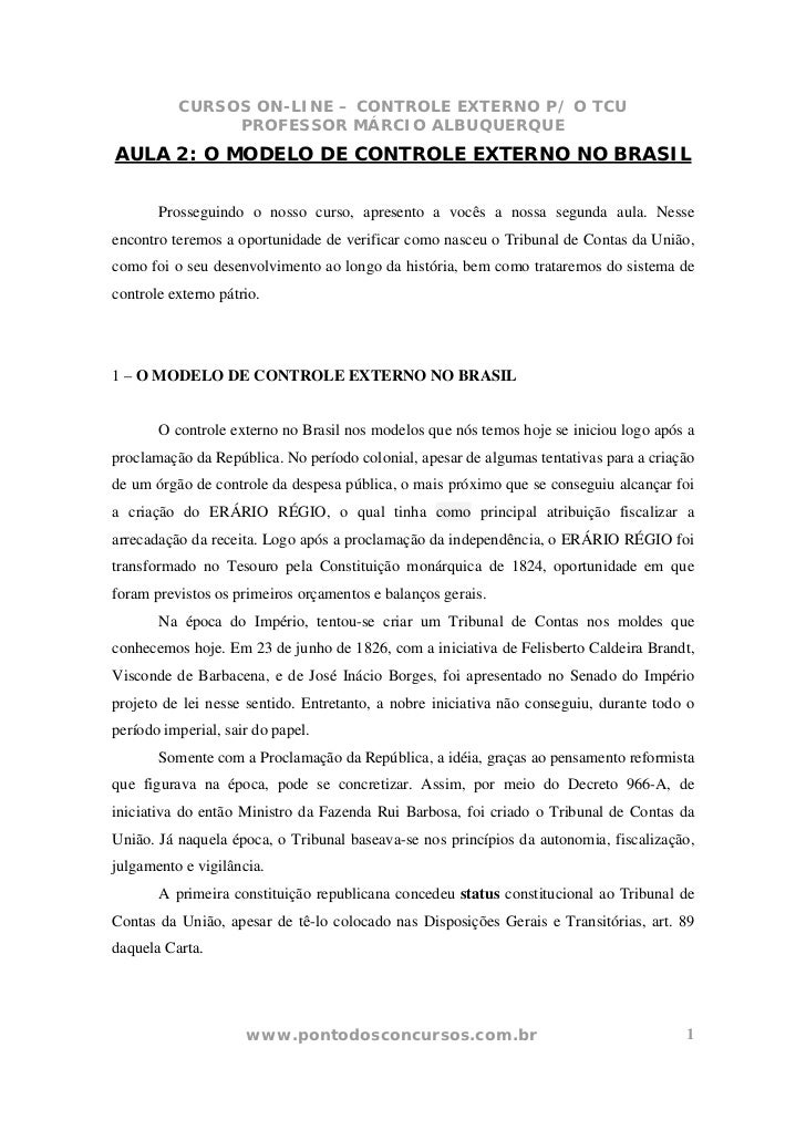CURSOS ON-LINE – CONTROLE EXTERNO P/ O TCU               PROFESSOR MÁRCIO ALBUQUERQUEAULA 2: O MODELO DE CONTROLE EXTERNO ...