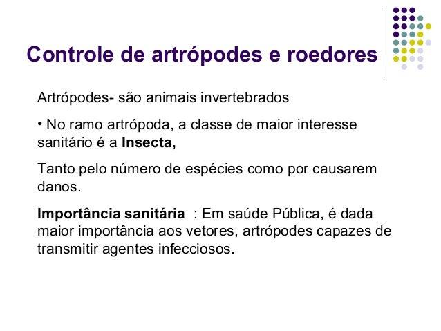 Controle de artrópodes e roedores Artrópodes- são animais invertebrados • No ramo artrópoda, a classe de maior interesse s...