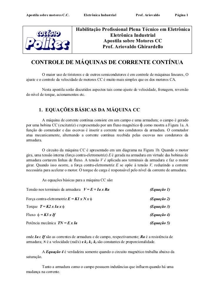 Apostila sobre motores C.C.          Eletrônica Industrial           Prof. Ariovaldo           Página 1                   ...