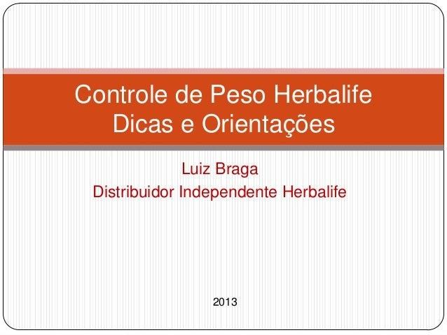 Controle de Peso Herbalife  Dicas e Orientações               Luiz Braga Distribuidor Independente Herbalife              ...