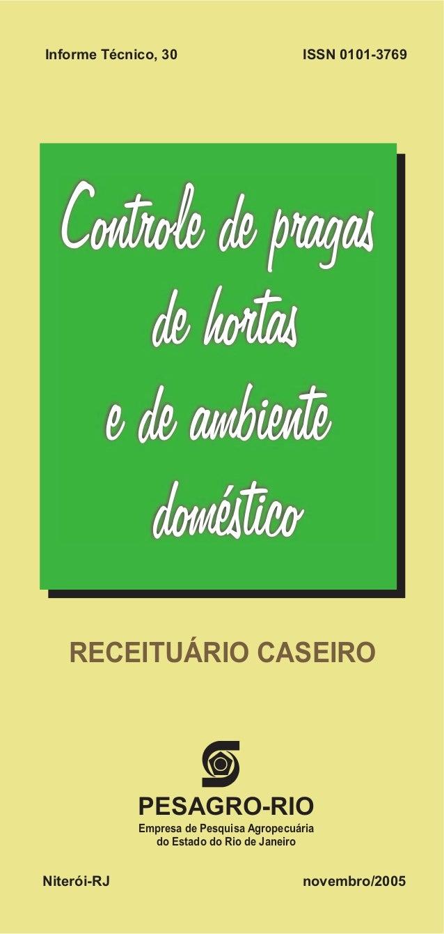 PESAGRO-RIO Empresa de Pesquisa Agropecuária do Estado do Rio de Janeiro Niterói-RJ novembro/2005 Controle de pragas de ho...