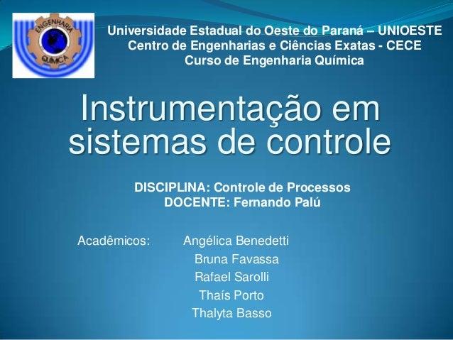 Instrumentação emsistemas de controleAcadêmicos: Angélica BenedettiBruna FavassaRafael SarolliThaís PortoThalyta BassoUniv...