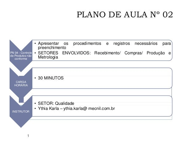 PLANO DE AULA Nº 02 1 PN 04 - Controle de Produtos não conforme • Apresentar os procedimentos e registros necessários para...