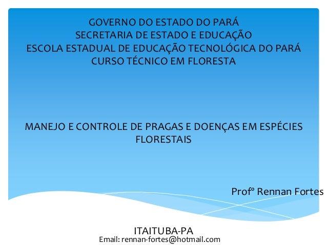 GOVERNO DO ESTADO DO PARÁ SECRETARIA DE ESTADO E EDUCAÇÃO ESCOLA ESTADUAL DE EDUCAÇÃO TECNOLÓGICA DO PARÁ CURSO TÉCNICO EM...