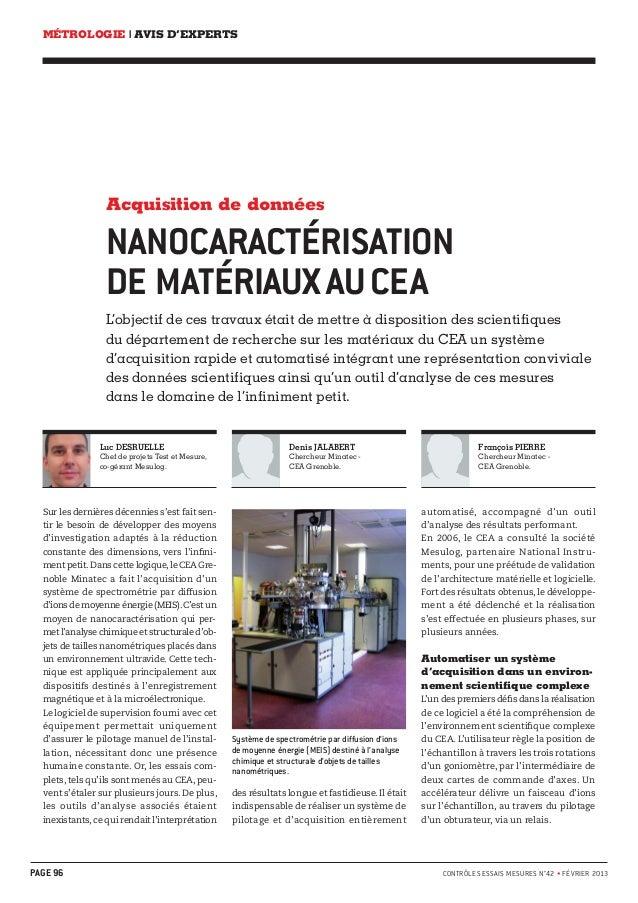 MÉTROLOGIE | AVIS D'EXPERTS  Acquisition de données  NANOCARACTÉRISATION  DE MATÉRIAUX AU CEA  L'objectif de ces travaux é...