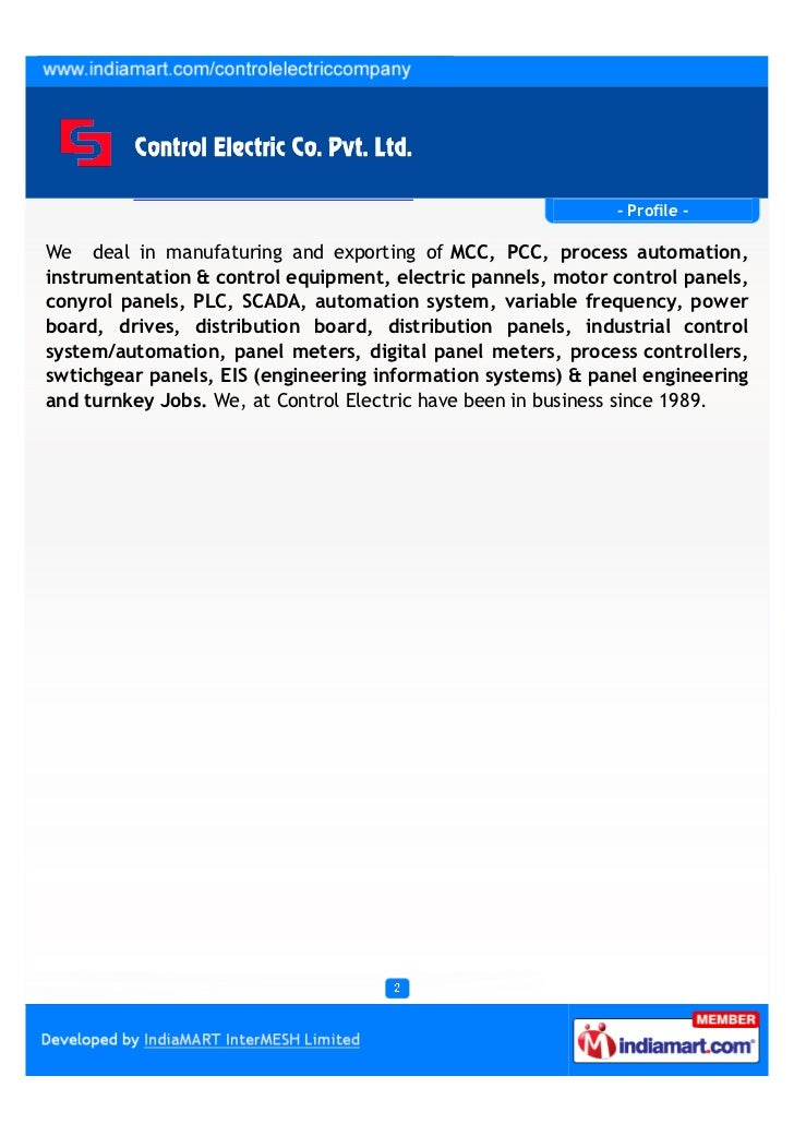 Control Electric Company Private Limited, Noida, Control Panels & Automation Systems Slide 2