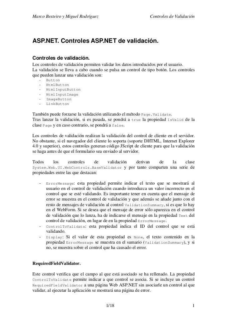Marco Besteiro y Miguel Rodríguez                                 Controles de ValidaciónASP.NET. Controles ASP.NET de val...