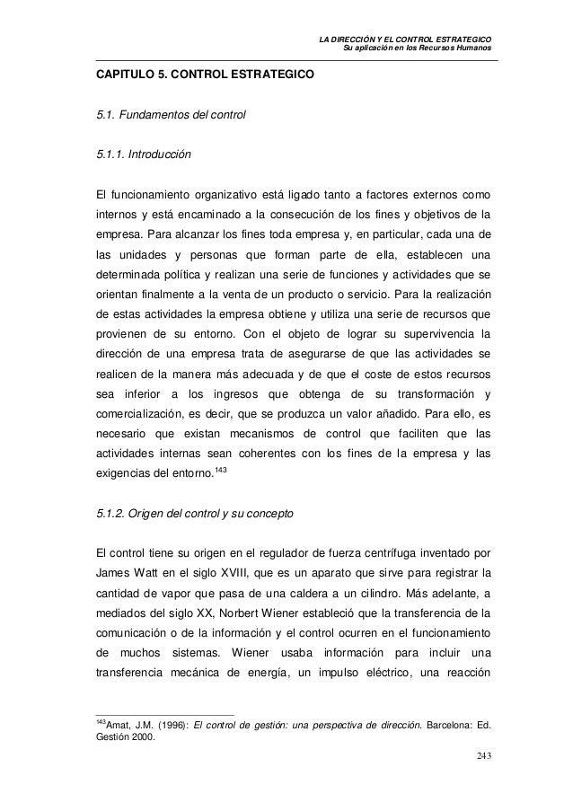 LA DIRECCIÓN Y EL CONTROL ESTRATEGICO                                                       Su aplicación en los Recursos ...