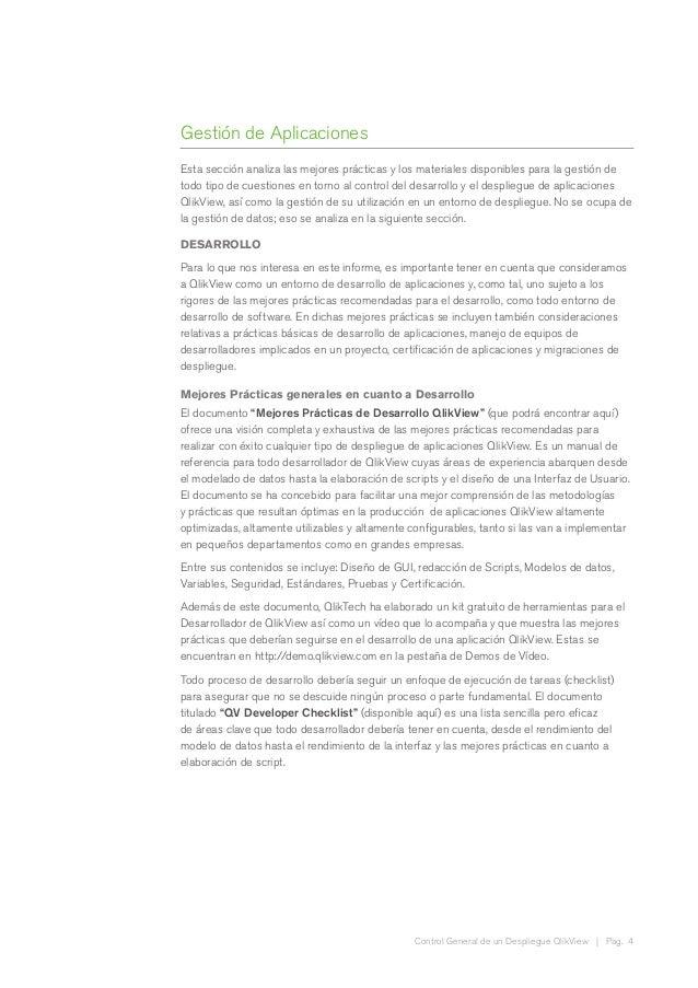 Control General de un Despliegue QlikView | Pag. 4 Gestión de Aplicaciones Esta sección analiza las mejores prácticas y lo...