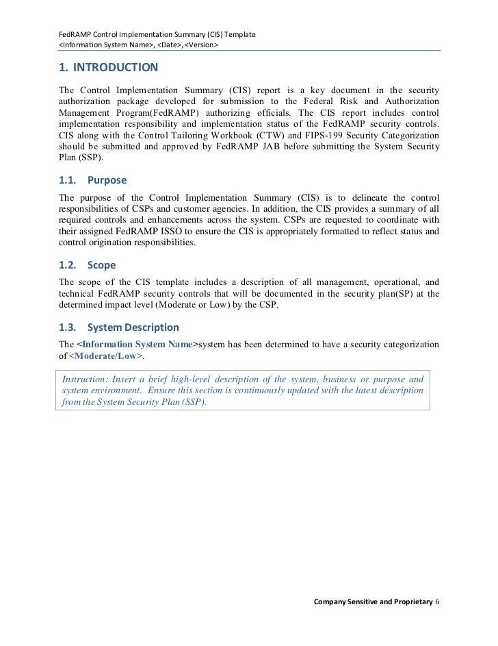 Control Implementation Summary CIS Template – Summary Document Template