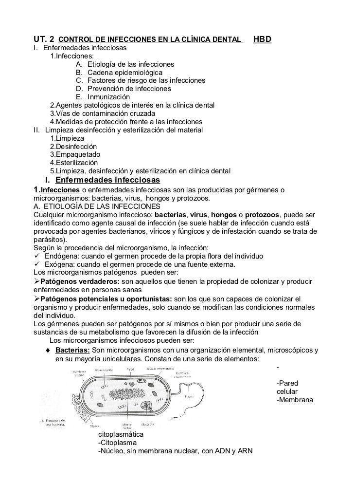 UT. 2 CONTROL DE INFECCIONES EN LA CLÍNICA DENTAL                   HBDI. Enfermedades infecciosas     1.Infecciones:     ...