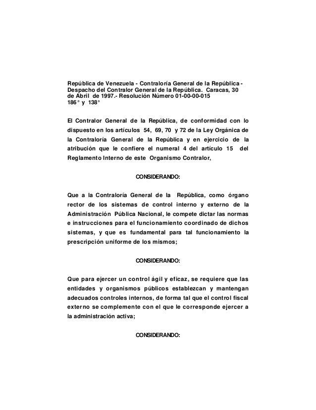 República de Venezuela - Contraloría General de la República Despacho del Contralor General de la República. Caracas, 30 d...