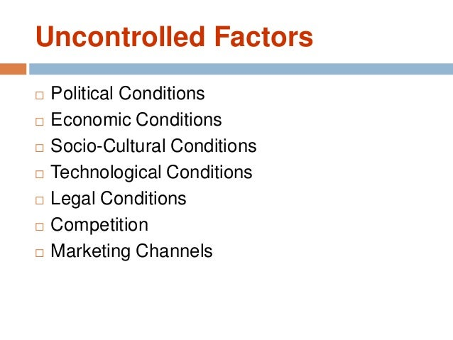 uncontrollable factors in marketing The set of controllable (ie, traditional marketing) and uncontrollable (ie, environmental factors and personal characteristics of the consumer) factors between online and traditional markets do not vary fundamentally, where both markets have factors which are within the influence of marketers and some factors which fall beyond their reach.