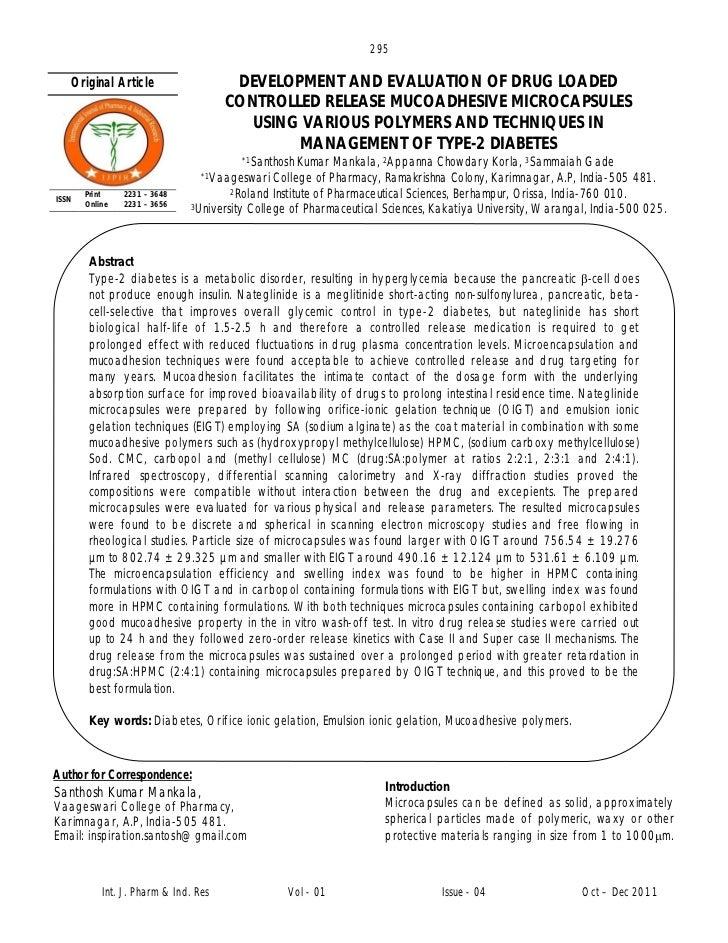 295   Original Article                    DEVELOPMENT AND EVALUATION OF DRUG LOADED                                      C...