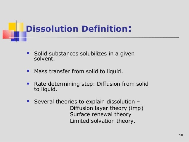 Osmotic Pressure Controlled System; 10. 10 Dissolution Definition: ...
