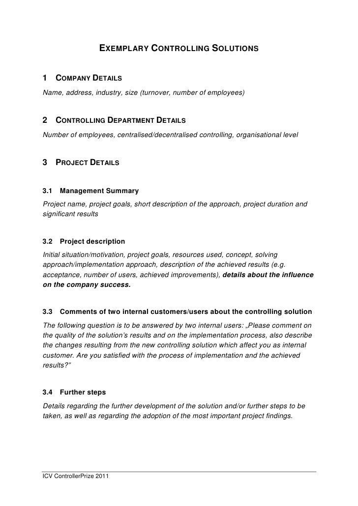 EXEMPLARY CONTROLLING SOLUTIONS   1 COMPANY DETAILS Name, address, industry, size (turnover, number of employees)   2 CONT...