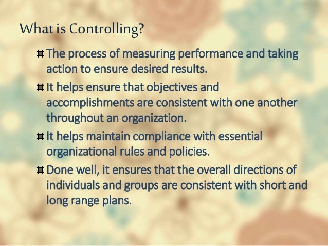 importance of controlling