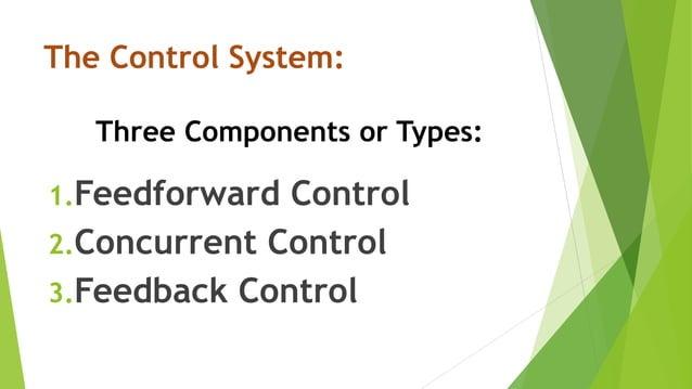 The Control System: Three Components or Types: 1.Feedforward Control 2.Concurrent Control 3.Feedback Control
