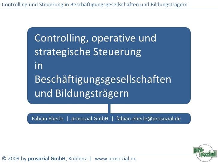 Controlling und Steuerung in Beschäftigungsgesellschaften und Bildungsträgern<br />Controlling, operative und strategische...