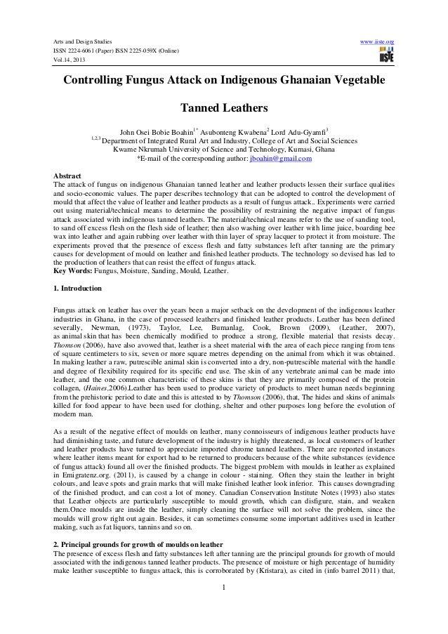 Arts and Design Studies ISSN 2224-6061 (Paper) ISSN 2225-059X (Online) Vol.14, 2013  www.iiste.org  Controlling Fungus Att...