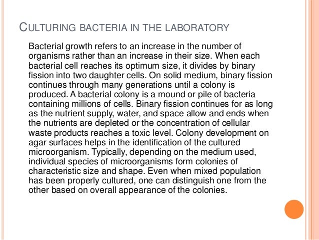 Controlling microbial growth in vitro