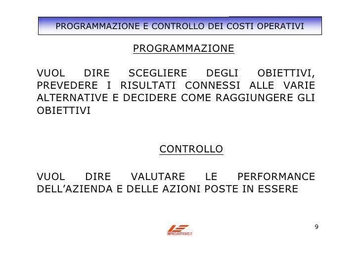 Controllo di gestione for Programmazione e gestione dei servizi educativi