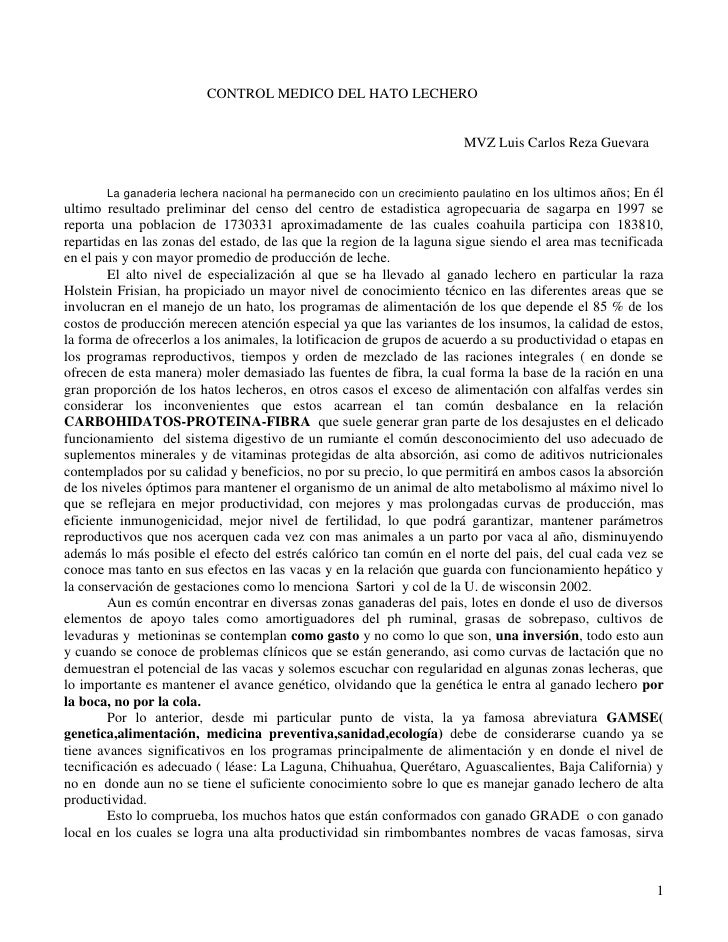 CONTROL MEDICO DEL HATO LECHERO                                                                          MVZ Luis Carlos R...