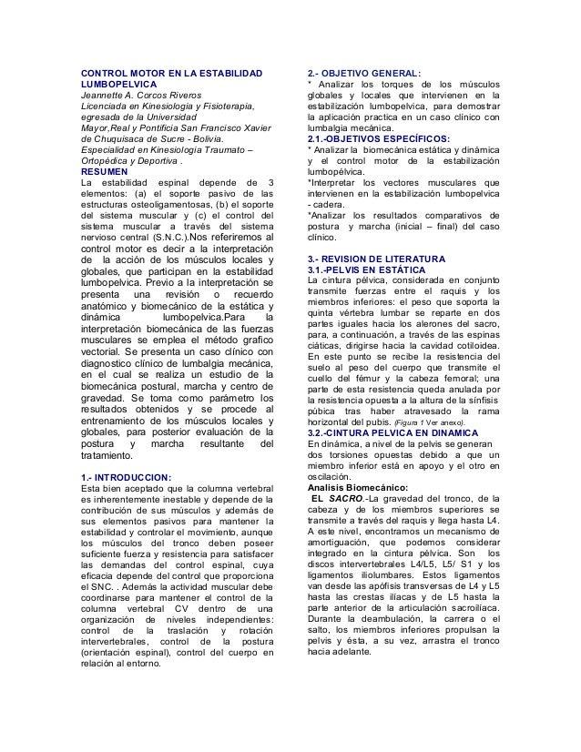 CONTROL MOTOR EN LA ESTABILIDAD                   2.- OBJETIVO GENERAL:LUMBOPELVICA                                      *...