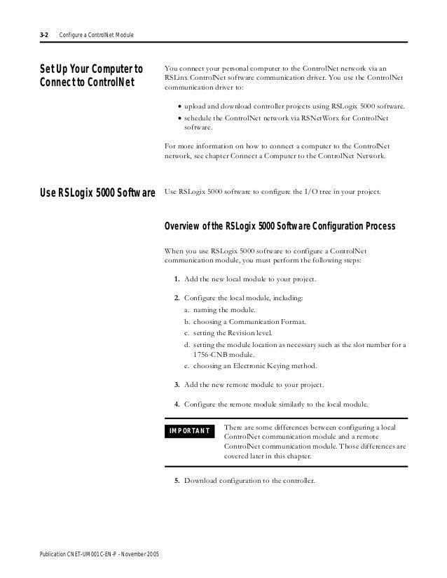 Controlnet network configuration User manual