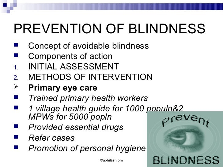 Control Of Blindness
