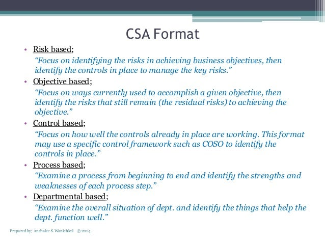 Control self assessment (csa)