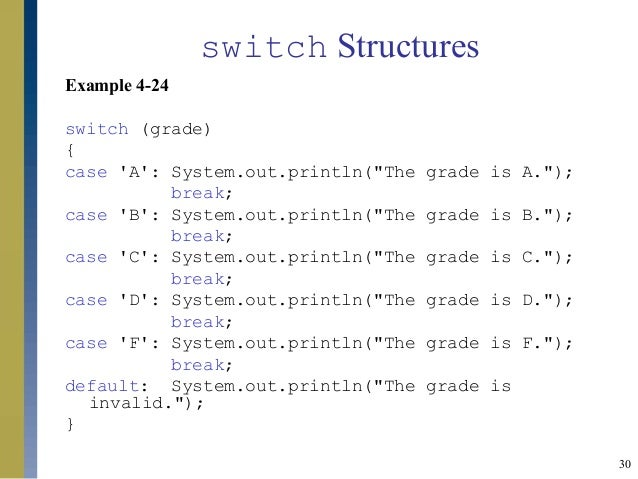 Control structures i - Switch case java ...