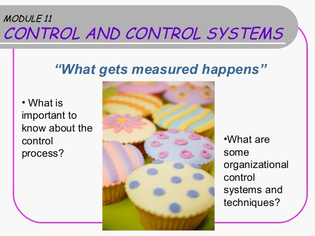 """MODULE 11CONTROL AND CONTROL SYSTEMS            """"What gets measured happens""""   • What is   important to   know about the  ..."""