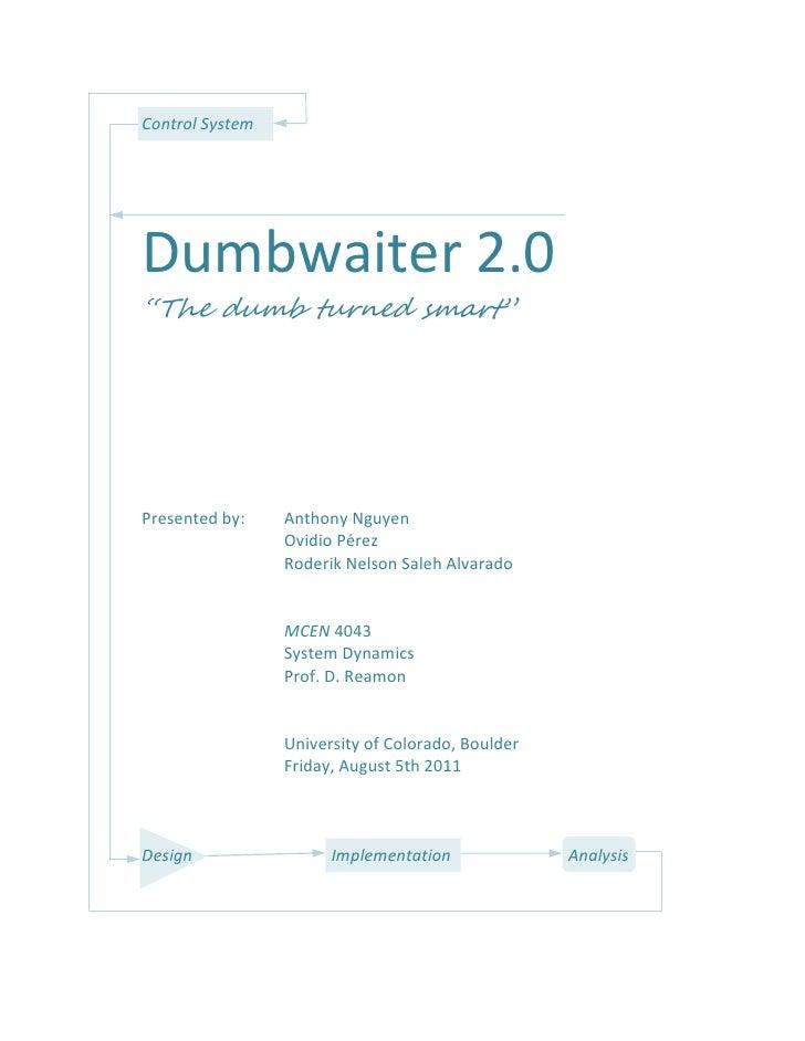 control systems design the dumbwaiter 2 0 rh slideshare net