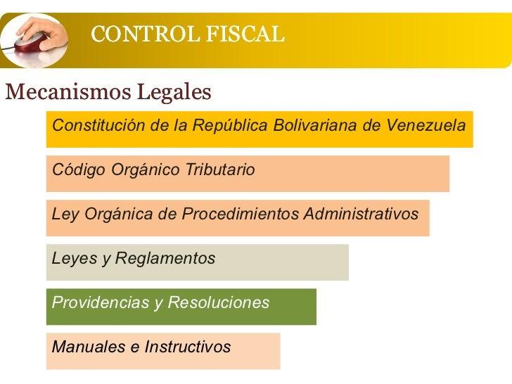 CONTROL FISCALMecanismos Legales    Constitución de la República Bolivariana de Venezuela    Código Orgánico Tributario   ...