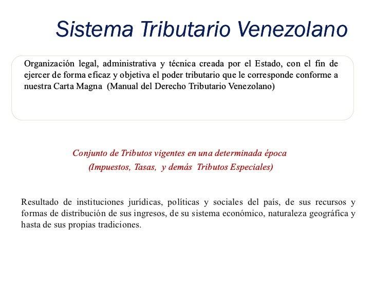 Sistema Tributario VenezolanoOrganización legal, administrativa y técnica creada por el Estado, con el fin deejercer de fo...