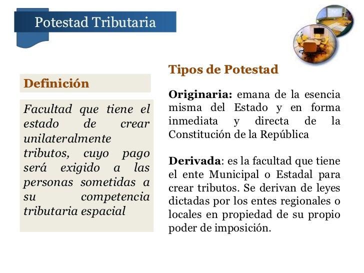 Potestad Tributaria                          Tipos de PotestadDefinición                          Originaria: emana de la ...