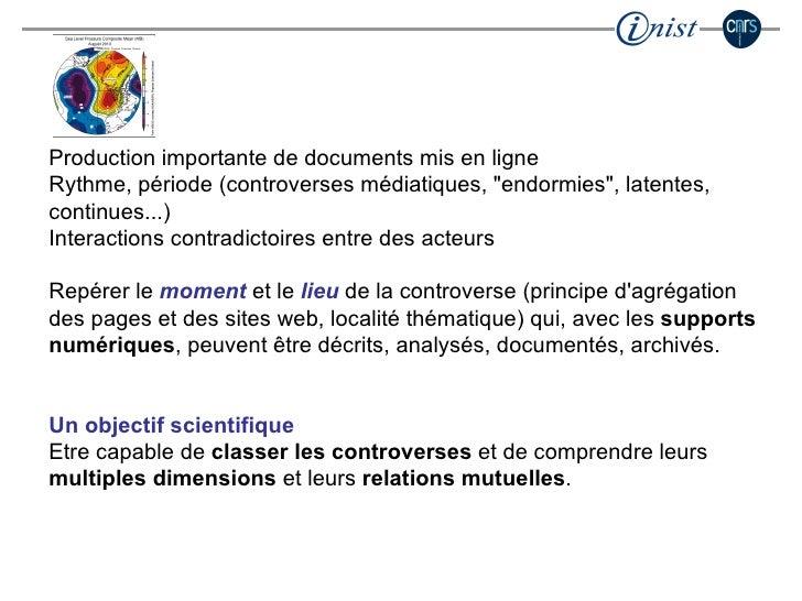 """Production importante de documents mis en ligne Rythme, période (controverses médiatiques, """"endormies"""", latentes..."""