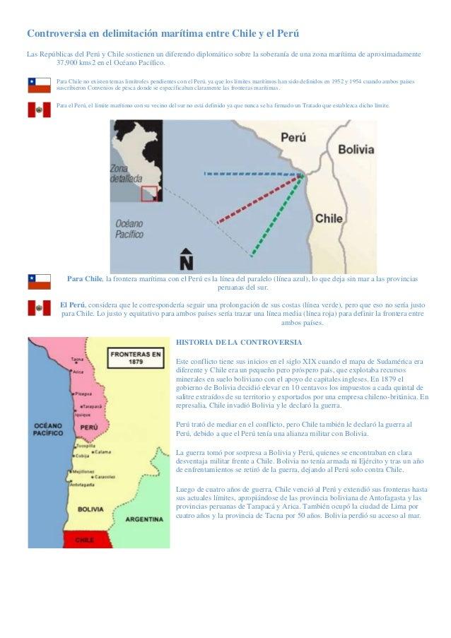 Controversia en delimitación marítima entre Chile y el PerúLas Repúblicas del Perú y Chile sostienen un diferendo diplomát...